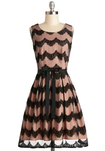 Montmartre at Moonlight Dress by Darling - Black, Lace, Scallops, Belted, Party, A-line, Sleeveless, Better, Scoop, Woven, Mixed Media, Velvet, Lace, Mid-length, Pink, Prom, Homecoming