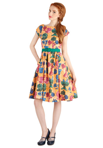 Still Got It Dress by Bea & Dot - Yellow, Floral, Fit & Flare, Cap Sleeves, Better, Boat, Cotton, Woven, Green, Blue, Pink, Pockets, Belted, A-line, Exclusives, Private Label, Long, Spring, Summer