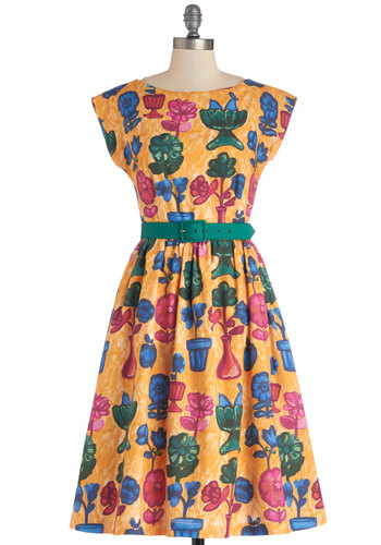 Still Got It Dress by Bea & Dot - Yellow, Floral, Fit & Flare, Cap Sleeves, Better, Boat, Cotton, Woven, Green, Blue, Pink, Pockets, Belted, A-line, Exclusives, Private Label, Spring, Show On Featured Sale, Long