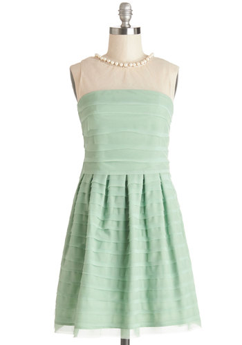 Pearl of Your Dreams Dress - Beads, Pearls, Pleats, Special Occasion, Prom, A-line, Sleeveless, Better, Mid-length, Sheer, Woven, Mint, Rhinestones, Bridesmaid, Crew, Green, Wedding, Pastel