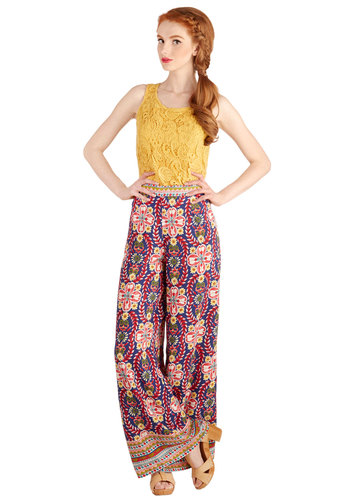 Morning, Noon, and Bright Pants - Festival, Novelty Print, Casual, Boho, Vintage Inspired, 70s, High Waist, Wide Leg, Good, Full length, Blue, Non-Denim, Multi, Spring, Summer, Ultra High Rise