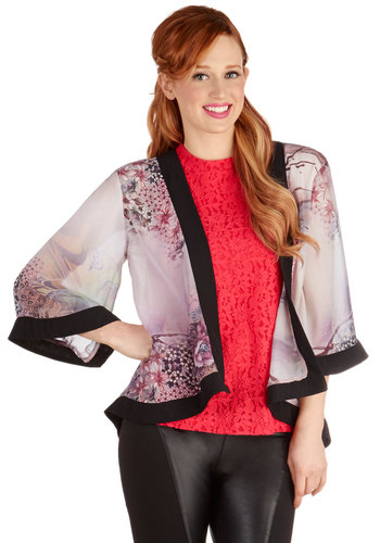 Cast and Crew Jacket - Chiffon, Sheer, Woven, Short, Good, Grey, 1, Multi, Purple, Black, White, Floral, Party, Daytime Party, 3/4 Sleeve, Festival
