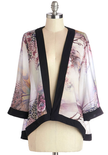 Cast and Crew Jacket - Chiffon, Sheer, Woven, Short, Good, Grey, Multi, Purple, Black, White, Floral, Party, Daytime Party, 3/4 Sleeve, Festival, 1, Spring, Summer