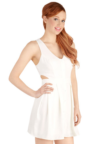 Save the Best for Sass Dress - Knit, Short, Solid, Buttons, Cutout, Casual, A-line, Racerback, Better, White, Pleats, Girls Night Out
