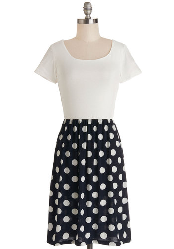 Urban Adventurer Dress in Dots - White, Polka Dots, Cutout, Casual, A-line, Twofer, Short Sleeves, Good, Scoop, Jersey, Knit, Blue, Top Rated, Mid-length