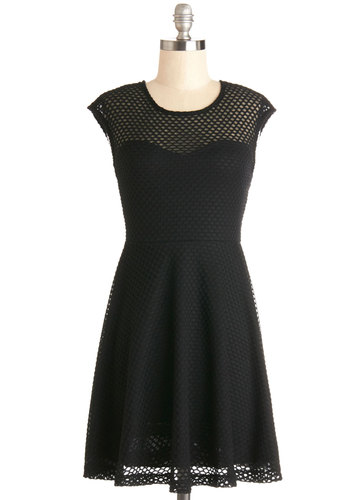 Blush out the Door Dress - Black, Solid, Cutout, Party, A-line, Good, Scoop, Knit, Woven, Short, Cap Sleeves, Girls Night Out