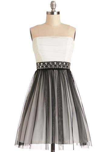 Alternative Allure Dress - Woven, Short, Black, White, Beads, Rhinestones, Special Occasion, Prom, Ballerina / Tutu, Strapless, Good, Party, Homecoming