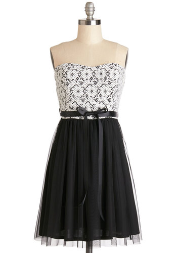 Blockbuster Birthday Dress - Black, White, Lace, Belted, A-line, Strapless, Good, Sweetheart, Woven, Mixed Media, Mid-length, Party, Homecoming