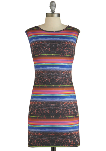 True City Girl Dress - Multi, Stripes, Print, Girls Night Out, Urban, Bodycon / Bandage, Sleeveless, Better, Party, Knit, Short