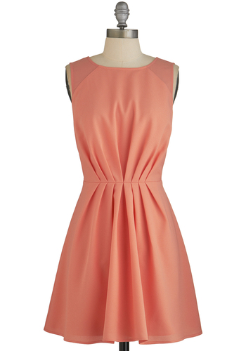Bright Day Ahead Dress - Coral, Solid, Pleats, Daytime Party, A-line, Sleeveless, Better, Mid-length, Woven