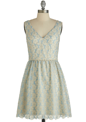 Photo Op Finery Dress - Blue, Tan / Cream, Floral, Pearls, Scallops, Prom, A-line, Sleeveless