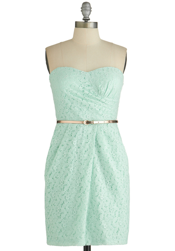 Crowd Standout Dress - Mint, Solid, Lace, Pockets, Belted, Wedding, Daytime Party, Bridesmaid, Shift, Strapless, Good, Sweetheart