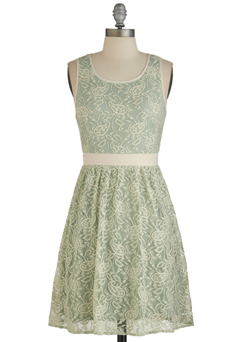 Floral Arrange-Mint Dress - Mint, Tan / Cream, Floral, Lace, Wedding, Daytime Party, Bridesmaid, Pastel, A-line, Tank top (2 thick straps), Good, Scoop, Woven, Lace, Mid-length