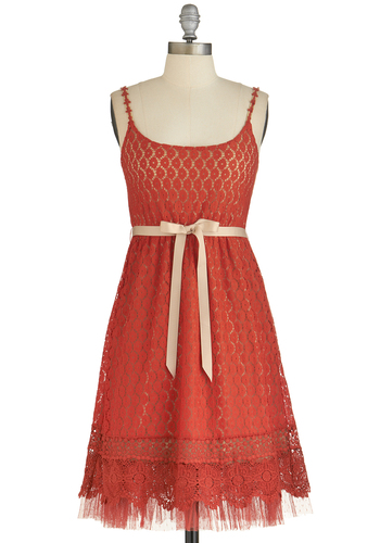 Pretty as Poppies Dress by Ryu - Crochet, Belted, Daytime Party, A-line, Spaghetti Straps, Better, Scoop, Solid, Lace, Mid-length, Woven, Lace, Orange, Boho, Valentine's, Party