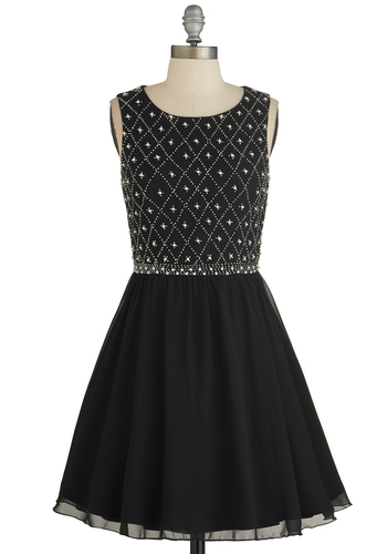 Night in Shining Glamour Dress by Chi Chi London - Black, Beads, Pearls, Rhinestones, Special Occasion, Prom, Ballerina / Tutu, Sleeveless, Better, Scoop, Mid-length, Chiffon, Woven, Top Rated, Party, Homecoming