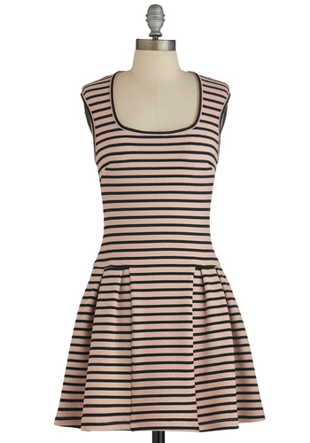 Atlanta by Day Dress - Pink, Black, Stripes, Pleats, Casual, A-line, Cap Sleeves, Good, Scoop, Summer, Knit, Short