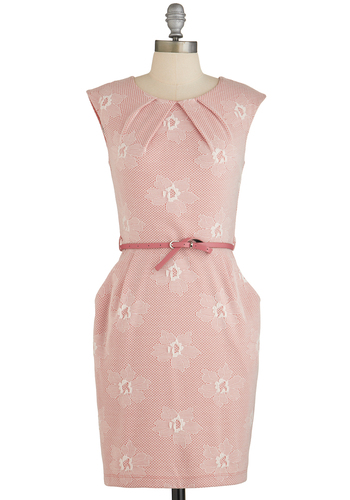 Mimosa Moment Dress - Pink, Belted, Shift, Cap Sleeves, Good, Floral, Pleats, White, Summer, Mid-length, Knit, Work, Casual