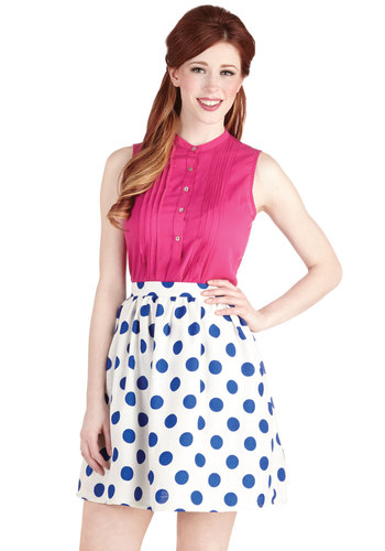 Bright on the Dot Skirt - White, White, Polka Dots, Blue, Casual, Daytime Party, Short, 80s, Spring, Summer, Good, Full