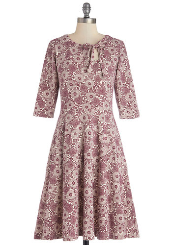 Market Difference Dress by Effie's Heart - Red, White, Floral, Tie Neck, Casual, 3/4 Sleeve, Better, Scoop, Cotton, Knit, Long, Pockets, A-line, Exclusives
