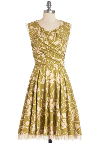 No Business Like Show Business Dress in Poppy by Effie's Heart - Green, Tan / Cream, Floral, Ruffles, Trim, Ruching, A-line, Cap Sleeves, Better, V Neck, Long, Cotton, Knit, Daytime Party, Variation, Pockets