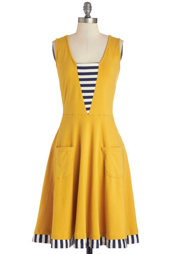 Sailboat-load of Fun Dress in Marigold by Effie's Heart - Yellow, White, Stripes, Pockets, Trim, Casual, A-line, Tank top (2 thick straps), Better, Scoop, Nautical, Knit, Jersey, Blue, Solid, Show On Featured Sale, Long