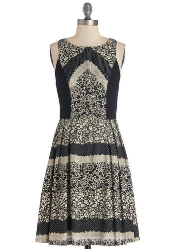 Need I Say Motif? Dress - Tan / Cream, Black, Print, Daytime Party, A-line, Sleeveless, Better, Scoop, Woven, Mid-length