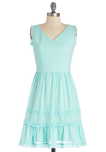 If Ever You Dream Dress - Chiffon, Woven, Mid-length, Blue, Solid, Ruffles, Casual, Sundress, A-line, Tank top (2 thick straps), Better, V Neck, Pastel, Spring