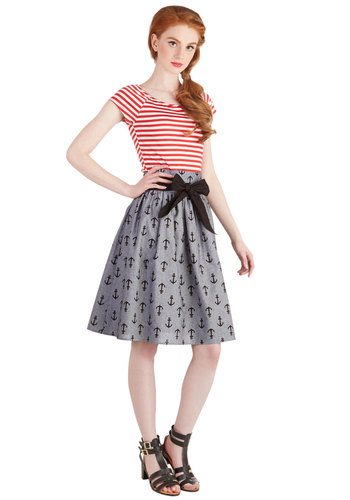 Once Upon a Maritime Skirt - Cotton, Mid-length, Grey, Novelty Print, Belted, Daytime Party, Nautical, Better, Grey, A-line, Casual, High Waist, Spring