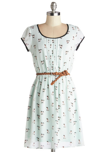 Meow's the Moment Dress - Mint, Black, Print with Animals, Pleats, Trim, Belted, Casual, Cats, A-line, Cap Sleeves, Good, Scoop, Chiffon, Sheer, Woven, Mid-length, Critters, Spring, Summer, Pastel