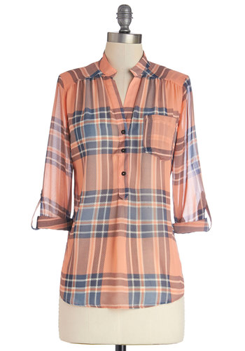 Living Room Lodging Top in Sunset Blush - Good, Pink, Tab Sleeve, Sheer, Mid-length, Woven, Blue, Buttons, Pockets, Casual, Long Sleeve, Variation, Coral, Plaid, Spring, Top Rated