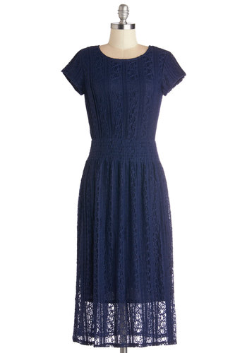 Sweetness and Candlelight Dress - Blue, Solid, Lace, Daytime Party, A-line, Cap Sleeves, Good, Long, Sheer, Knit, Lace