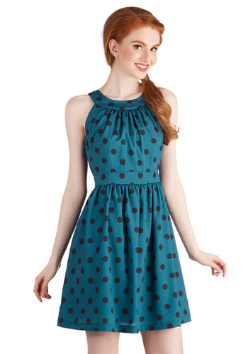 Gals' Night Haute Dress - Mid-length, Chiffon, Woven, Blue, Polka Dots, Casual, A-line, Sleeveless, Better, Crew, Pockets, Exclusives