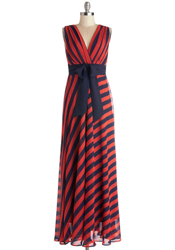 Chesapeake Performance Dress - Red, Blue, Stripes, Tie Neck, Casual, Beach/Resort, Nautical, Maxi, Sleeveless, Better, V Neck, Long, Chiffon, Woven, Americana