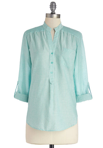 Isthmus Be Love Top - Cotton, Woven, Mid-length, Mint, White, Stripes, Buttons, Casual, Long Sleeve, Spring, Good, Blue, Tab Sleeve