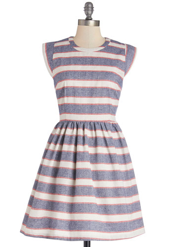 Boardwalk and Talk Dress - Mid-length, Woven, Multi, Stripes, Casual, Nautical, A-line, Cap Sleeves, Better, Crew, Top Rated, Sundress, Summer