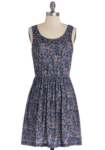 Modern Garden Dress - Knit, Mid-length, Multi, Print, Bows, Casual, A-line, Sleeveless, Good, Scoop, Backless, Spring, Summer