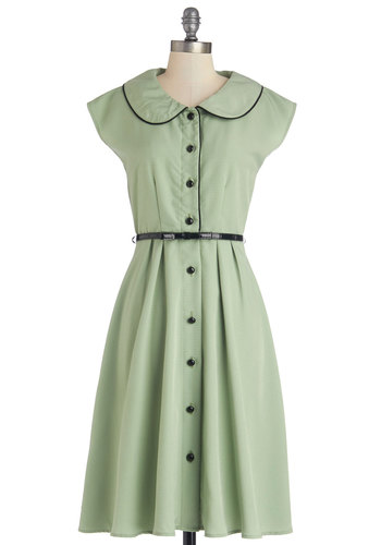 Fun Sweet Song Dress - Green, Solid, Buttons, Peter Pan Collar, Trim, Belted, Casual, A-line, Shirt Dress, Cap Sleeves, Better, Collared, Long, Woven, Vintage Inspired, 50s, Full-Size Run