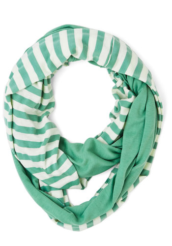 Swathed in Spring Circle Scarf in Sage - Cotton, Green, White, Stripes, Casual, Good, Green, Variation, Spring, Gals, Under $20
