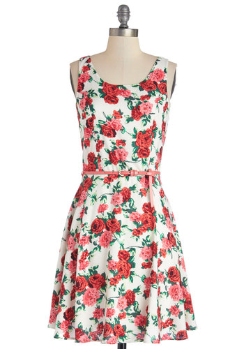 Beloved Botanicals Dress - Multi, Floral, Cutout, Belted, Daytime Party, A-line, Sleeveless, Good, Scoop, Woven, Mid-length, Spring, Summer