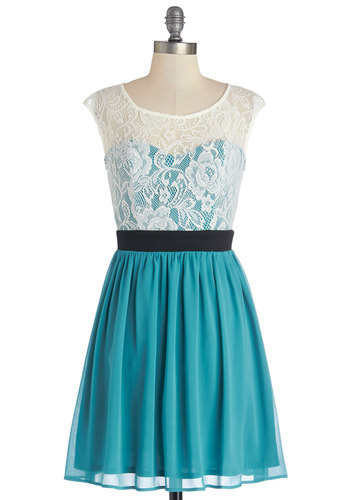 Shortcake Story Dress in Teal - Blue, Tan / Cream, Lace, Party, A-line, Cap Sleeves, Good, Scoop, Sheer, Knit, Woven, Variation, Social Placements, Mid-length