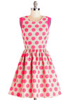 Strike Up the Band Dress - Woven, Mid-length, Pink, Tan / Cream, Polka Dots, Exposed zipper, Casual, A-line, Sleeveless, Spring, Summer