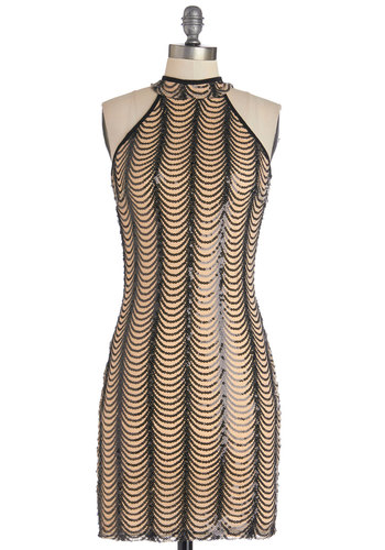 A Flock of Sequins Dress - Woven, Mid-length, Tan / Cream, Black, Cutout, Sequins, Girls Night Out, Bodycon / Bandage, Sleeveless, Good, Cocktail, Vintage Inspired, 20s