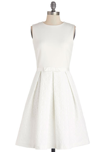 All My Elegance Dress - White, Bows, Pleats, Daytime Party, Sleeveless, Better, Wedding, Bride, Fit & Flare, Knit, Woven, Mid-length, Pockets, Graduation, Crew, Solid
