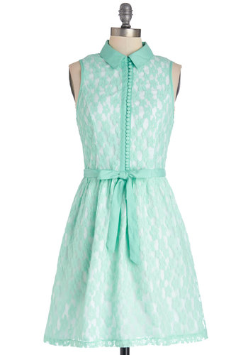 Bride to Be Dress by Kensie - Woven, Mid-length, Mint, White, Buttons, Lace, Belted, Shirt Dress, Sleeveless, Better, Collared, Lace, Pastel, Daytime Party, Graduation