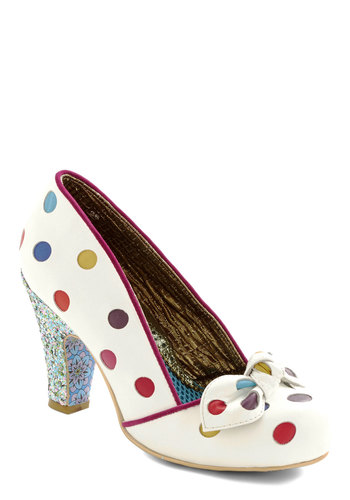 All Walks of Blithe Heel by Irregular Choice - Mid, Leather, White, Multi, Polka Dots, Bows, Party, Daytime Party, Best, Glitter, Quirky, Statement