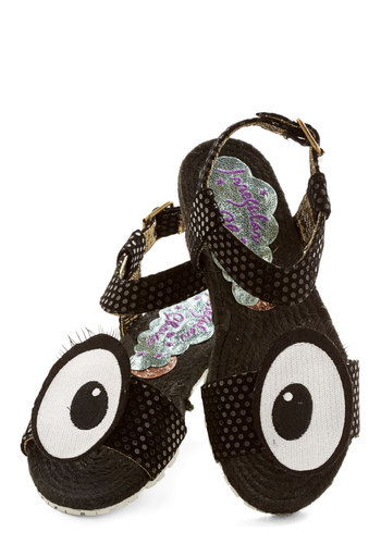 Don't Stop the Glance Sandal by Irregular Choice - Flat, Faux Leather, Black, White, Solid, Casual, Beach/Resort, Quirky, Best, Statement