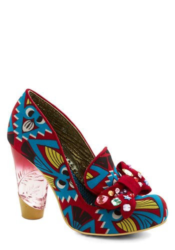 Be All That You Can Bedazzle Heel by Irregular Choice - High, Woven, Print, Bows, Rhinestones, Party, Statement, Best, Chunky heel, Multi, Red, Yellow, Blue