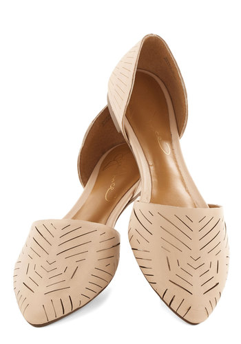 Grounded in Glam Flat in Beige - Flat, Leather, Tan, Solid, Cutout, Daytime Party, Better, Variation, Work