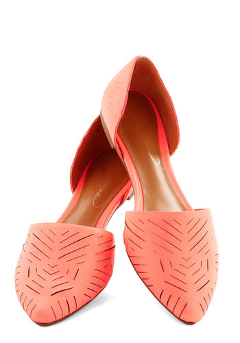 Grounded in Glam Flat in Coral - Flat, Leather, Coral, Solid, Cutout, Daytime Party, Better, Work, Variation
