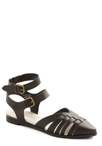 Peninsula Parade Flat in Black by Restricted - Low, Faux Leather, Black, Solid, Buckles, Cutout, Casual, Better, Strappy